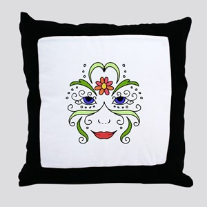 Womans Floral Face Throw Pillow