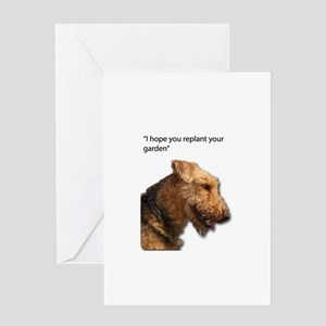Airedale Terrier wishing you your b Greeting Cards