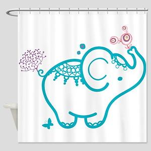 Cute Baby Elephant Illustration Shower Curtain