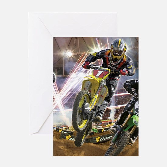 Motocross Arena Greeting Cards