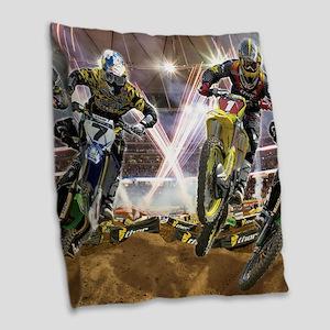 Motocross Arena Burlap Throw Pillow