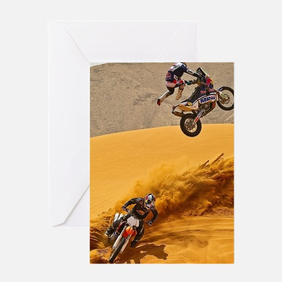 Motocross Riders Riding Sand Dunes Greeting Cards