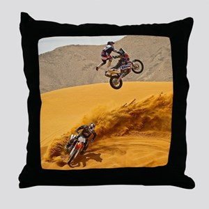 Motocross Riders Riding Sand Dunes Throw Pillow