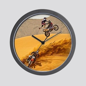 Motocross Riders Riding Sand Dunes Wall Clock