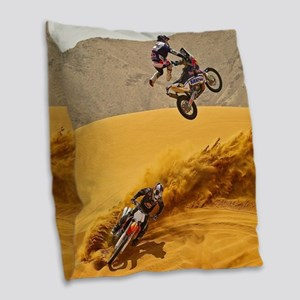 Motocross Riders Riding Sand Dunes Burlap Throw Pi
