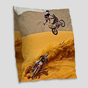 Motocross Riders Riding Sand Dunes Burlap Throw Pi