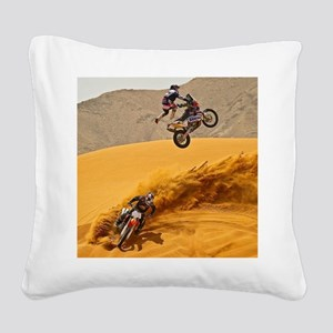 Motocross Riders Riding Sand Dunes Square Canvas P