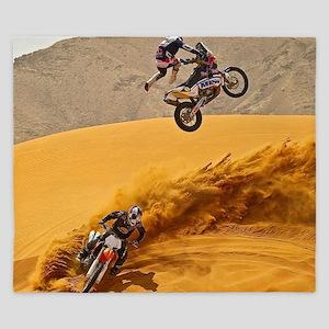 Motocross Riders Riding Sand Dunes King Duvet