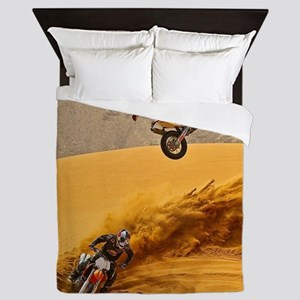 Motocross Riders Riding Sand Dunes Queen Duvet