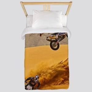Motocross Riders Riding Sand Dunes Twin Duvet