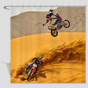 Motocross Riders Riding Sand Dunes Shower Curtain