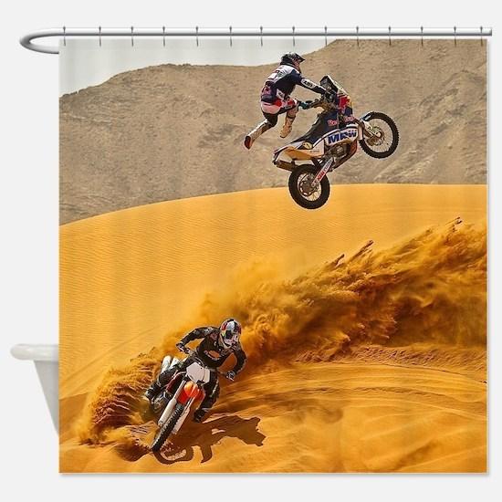 Motocross Riders Riding Sand Dunes Shower Curtain
