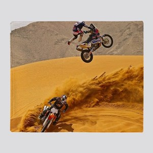 Motocross Riders Riding Sand Dunes Throw Blanket