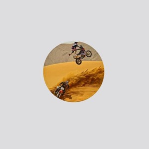 Motocross Riders Riding Sand Dunes Mini Button