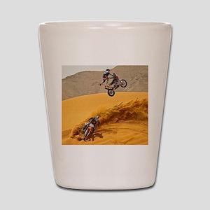 Motocross Riders Riding Sand Dunes Shot Glass