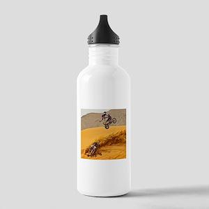 Motocross Riders Riding Sand Dunes Water Bottle