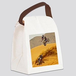 Motocross Riders Riding Sand Dunes Canvas Lunch Ba