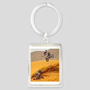 Motocross Riders Riding Sand Dunes Keychains