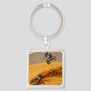 Motocross Riders Riding Sand Dunes Keychains