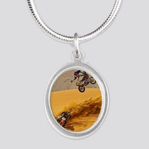 Motocross Riders Riding Sand Dunes Necklaces