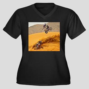 Motocross Riders Riding Sand Dunes Plus Size T-Shi