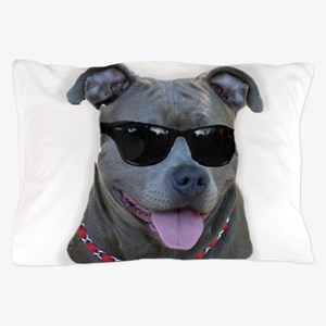 Pitbull in sunglasses Pillow Case