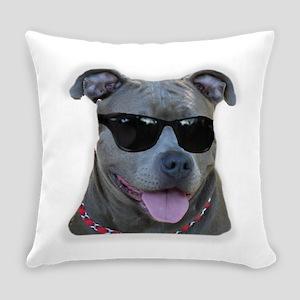Pitbull in sunglasses Everyday Pillow
