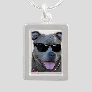 Pitbull in sunglasses Necklaces