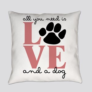 Love And A Dog Everyday Pillow