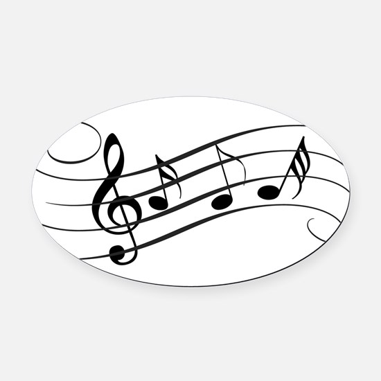 Musical Notes Oval Car Magnet