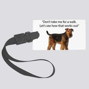 Airedale Terrier Getting Ready f Large Luggage Tag
