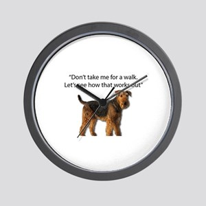 Airedale Terrier Getting Ready for Payb Wall Clock