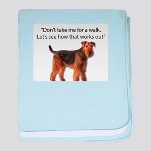 Airedale Terrier Getting Ready for Pa baby blanket