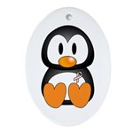 Breast Cancer Penguin Oval Ornament