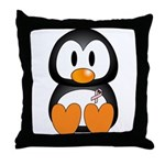 Breast Cancer Penguin  Throw Pillow