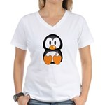 Breast Cancer Penguin Women's V-Neck T-Shirt