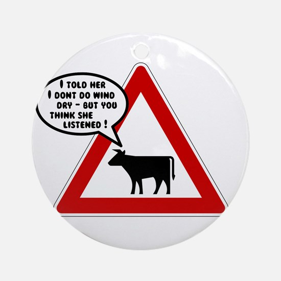 Cows Bad Hair Day Ornament (Round)