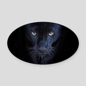 Black Panther Oval Car Magnet
