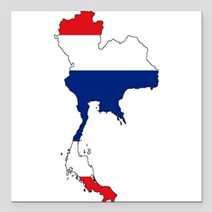 "Thai Flag Silhouette Square Car Magnet 3"" x 3"""