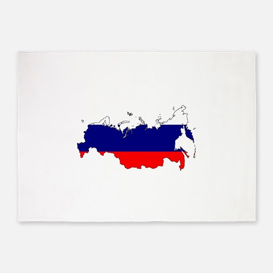 Russian Flag Silhouette 5'x7'Area Rug