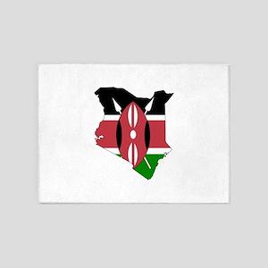 Kenyan Flag Silhouette 5'x7'Area Rug