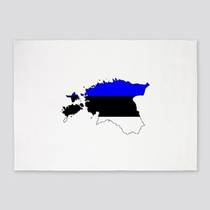 Estonian Flag Silhouette 5'x7'Area Rug