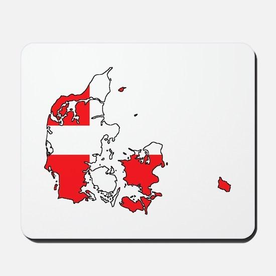Danish Flag Silhouette Mousepad