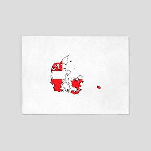 Danish Flag Silhouette 5'x7'Area Rug