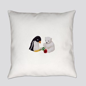 Penguin Polar Bear Rose Everyday Pillow