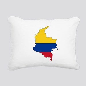 Colombian Flag Silhouette Rectangular Canvas Pillo