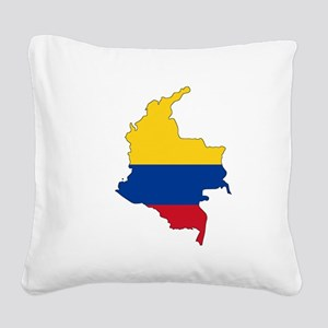 Colombian Flag Silhouette Square Canvas Pillow