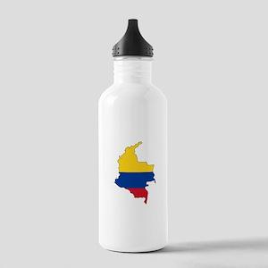 Colombian Flag Silhouette Water Bottle
