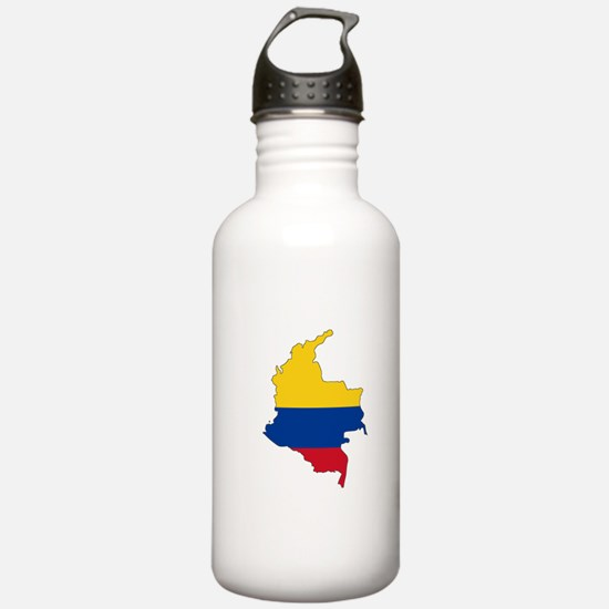 Colombian Flag Silhouette Water Bottle