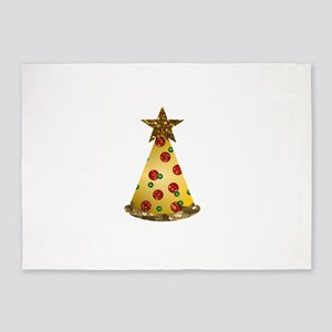 sequin pizza christmas tree 5'x7'Area Rug